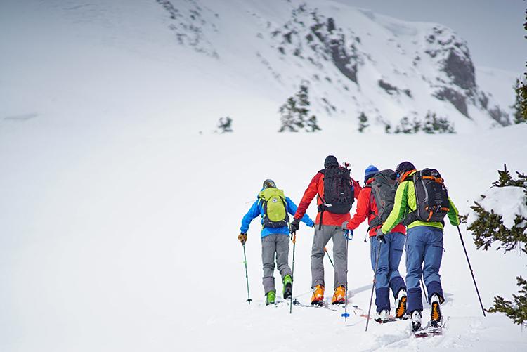 ski touring on red mountain pass