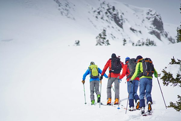 ski touring on red mountain pass